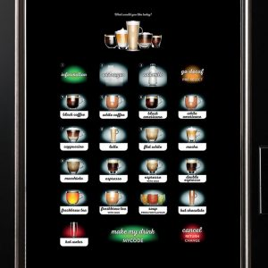 Crane Cali hot drinks vending machine touch screen selection