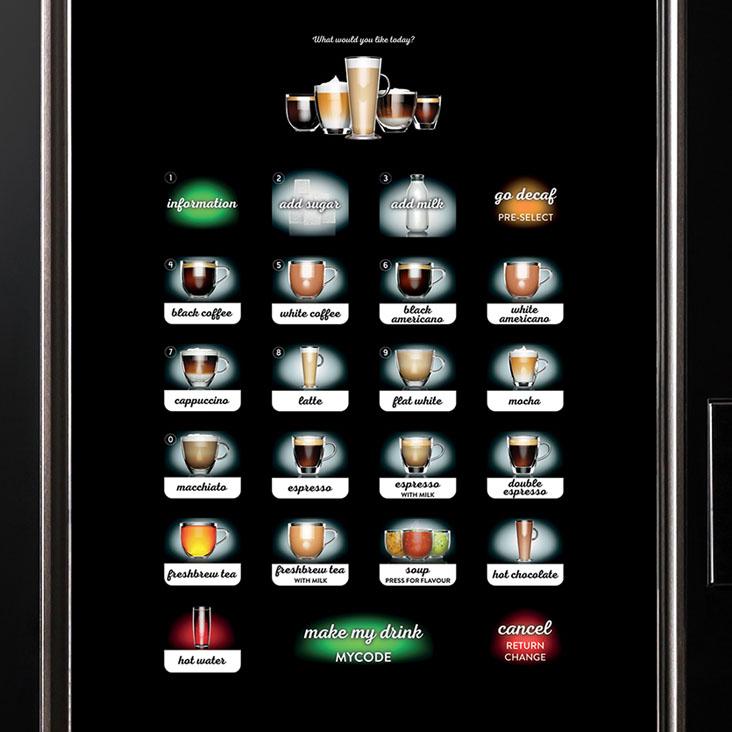 Crane Cali hot drinks vending machine touch screen selection