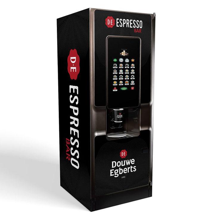 Crane Cali hot drinks vending machine with Douwe Egberts branding